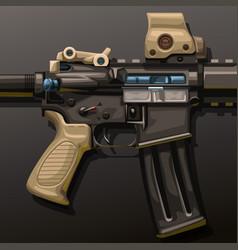Assault rifle lying on dark vector