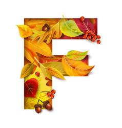 autumn stylized alphabet letter f vector image