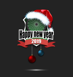 bicycle wheel with santa hat and happy new year vector image