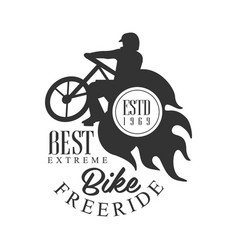 bike freeride best extreme vintage label black vector image