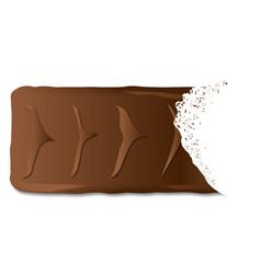 Bitten chocolate biscuit bar vector