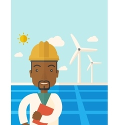 Black man in solar panel and windmills vector image