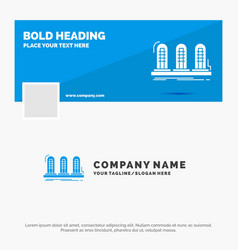 Blue business logo template for amplifier analog vector