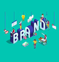 brand text isometric logo vector image