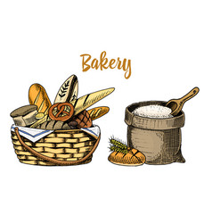 Bread and long loaf and pastry engraved hand vector