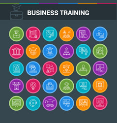 Business circle icon set vector