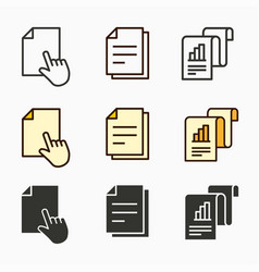 business report icons set black vector image
