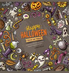 Cartoon doodles happy halloween frame card design vector