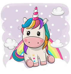 cartoon unicorn is sitting on clouds vector image