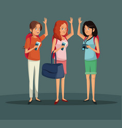 cheerful tourist women vacation trip vector image