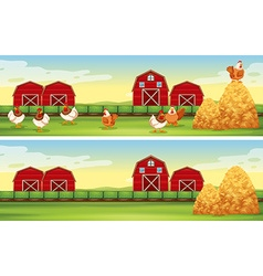 Chickens and barn in farmyard vector