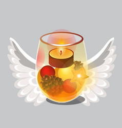 christmas sketch with burning tea or floating vector image