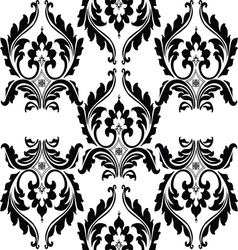 Classic floral black and white ornamented pattern vector