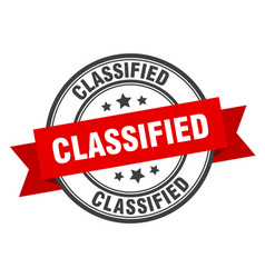 Classified label classified red band sign vector