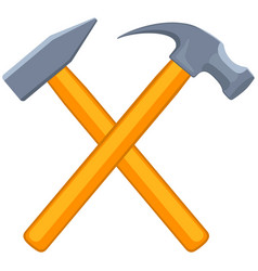 Colorful cartoon tow crossed hammers vector