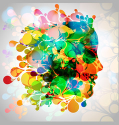 colorful woman face with leaves vector image
