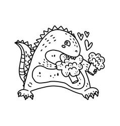 Coloring page outline cartoon cute dinosaur vector