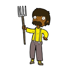 Comic cartoon farmer with pitchfork vector