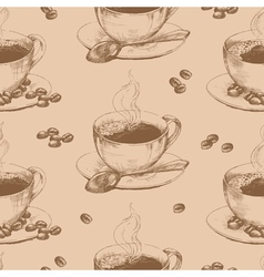 Cup of hot coffee seamless vector