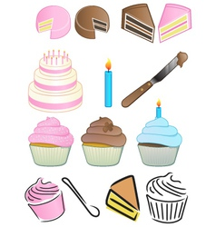 cupcake bakery icon set vector image