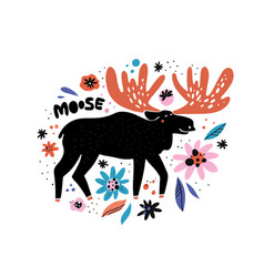 cute moose flat hand drawn vector image