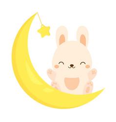 Cute rabbit sitting on the moon kawaii bunny vector