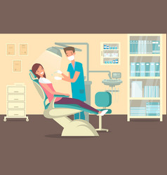 Dentist office tooth care and treatment theme vector