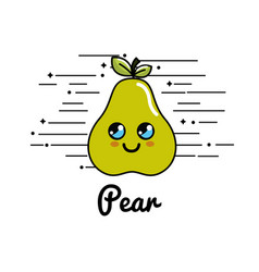 Emblem kawaii happy pear icon vector