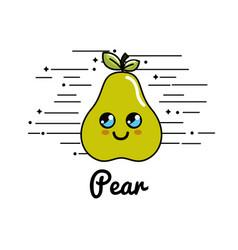 Emblem kawaii happy pear icon vector
