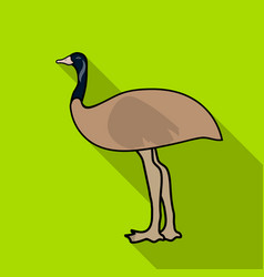 emu icon in flat style isolated on white vector image