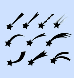 falling stars set shooting stars isolated vector image