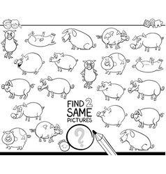 Find two same pig characters coloring book vector