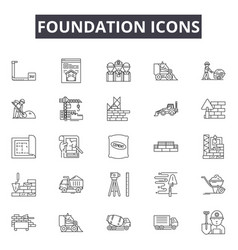 Foundation line icons signs set outline vector