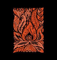 four elements concept fire design background vector image