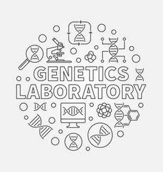 Genetics laboratory round outline vector