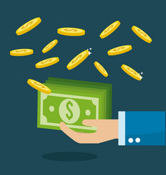 Green bills in the hand with coins money vector