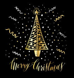 hand drawn christmas card new year tree with snow vector image
