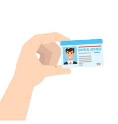 hand holding car driver license or id cadr vector image