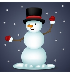 Happy Cartoon Snowman New Year Toy Character Icon vector