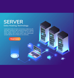 isometric web banner server room and hosting vector image