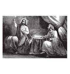 jesus teaches nicodemus vintage vector image