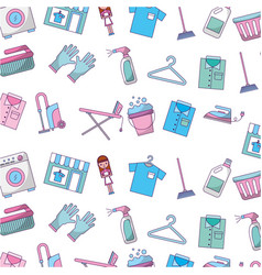 laundry icons pattern background vector image