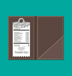 Leather folder for cash coins and cashier check vector