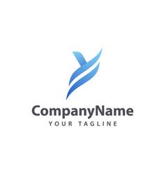 letter y blue logo design template vector image