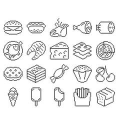 line pixel icons set food vector image