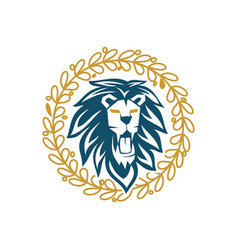 lion head leaf circle logo design symbol isolated vector image
