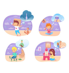 Little kid playing in future profession scene set vector