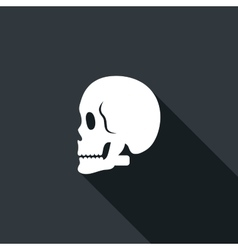Long shadow icon with a skull vector
