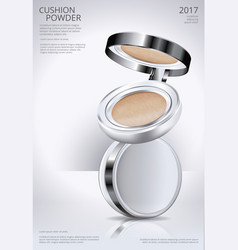 Makeup powder cushion poster template vector