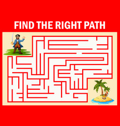 maze game find a pirates way to treasure vector image